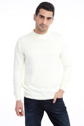 Erkek Giyim - Krem M Beden Bato Yaka Triko Kazak