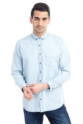 Erkek Giyim - Açık Mavi XL Beden Uzun Kol Denim Gömlek