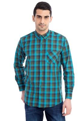 Erkek Giyim - Acık Yesıl M Beden Uzun Kol Ekose Gömlek