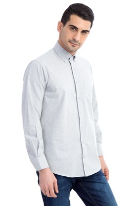 Erkek Giyim - Açık Gri 3X Beden Uzun Kol Oduncu Gömlek