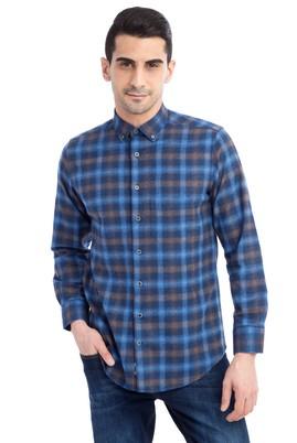 Erkek Giyim - Lacivert XL Beden Uzun Kol Ekose Oduncu Gömlek