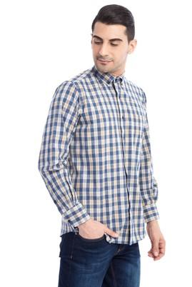 Erkek Giyim - Lacivert XXL Beden Uzun Kol Ekose Oduncu Gömlek