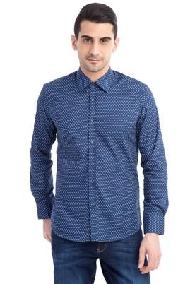 Erkek Giyim - Lacivert M Beden Uzun Kol Regular Fit Desenli Gömlek