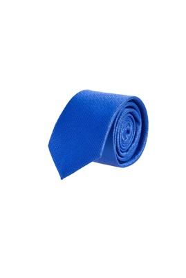 Erkek Giyim - Mavi 65 Beden Desenli İnce Kravat