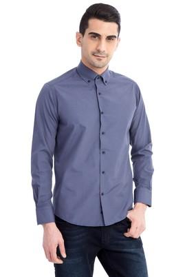 Erkek Giyim - Lacivert M Beden Uzun Kol Kareli Slim Fit Gömlek
