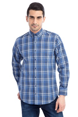 Erkek Giyim - Lacivert 3X Beden Uzun Kol Ekose Oduncu Gömlek