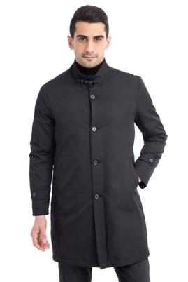 Erkek Giyim - Siyah 50 Beden Klasik Pardösü
