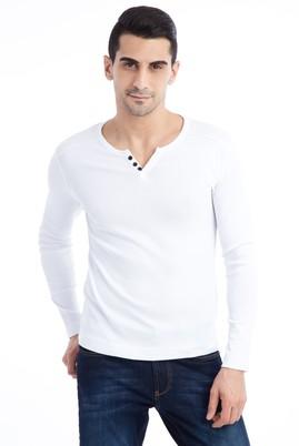 Erkek Giyim - Beyaz XL Beden V Yaka Slim Fit Sweatshirt