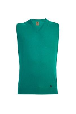 Erkek Giyim - Açık Yeşil XXL Beden V Yaka Yünlü Süveter