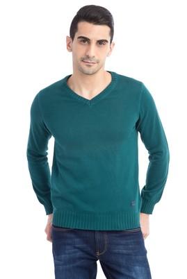 Erkek Giyim - Açık Yeşil S Beden V Yaka Triko Kazak