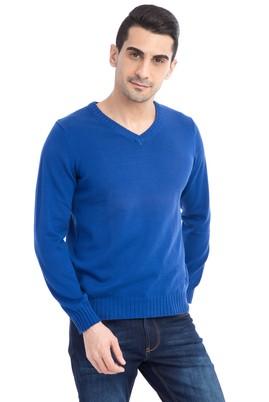 Erkek Giyim - Mavi L Beden V Yaka Triko Kazak