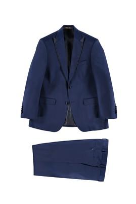 Erkek Giyim - Mavi 60 Beden Mono Yaka Desenli Smokin / Damatlık