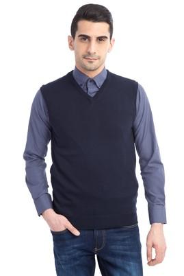 Erkek Giyim - Lacivert L Beden V Yaka Slim Fit Süveter