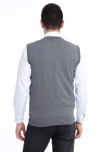 Erkek Giyim - V Yaka Slim Fit Süveter