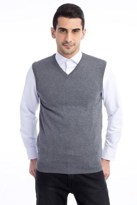 Erkek Giyim - Orta füme 4X Beden V Yaka Slim Fit Süveter
