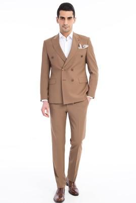 Erkek Giyim - Açık Kahve - Camel 48 Beden Slim Fit Kruvaze Takım Elbise