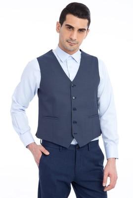 Erkek Giyim - Mavi 50 Beden Kuşgözü Klasik Yelek
