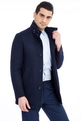 Erkek Giyim - KOYU MAVİ 46 Beden Desenli Kaşe Yün Kaban