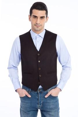 Erkek Giyim - KOYU KAHVE 44 Beden Yünlü Klasik Yelek