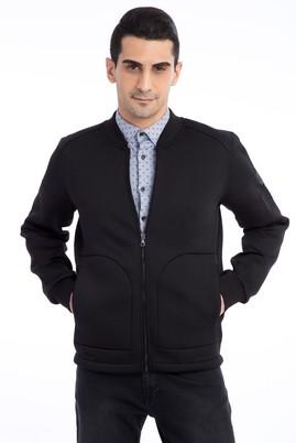 Erkek Giyim - Siyah XL Beden Fermuarlı Scuba Sweatshirt