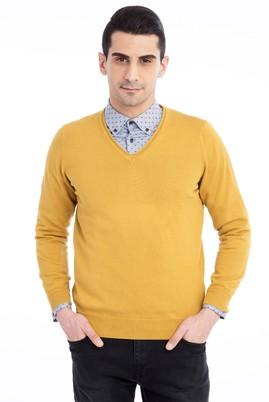 Erkek Giyim - Açık Kahve - Camel XXL Beden V Yaka Regular Fit Triko Kazak
