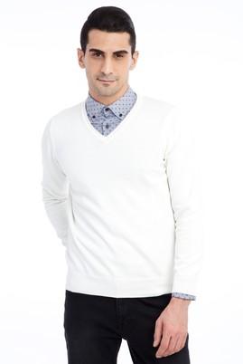 Erkek Giyim - Krem 3X Beden V Yaka Regular Fit Triko Kazak
