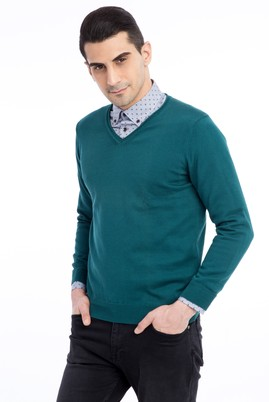 Erkek Giyim - KOYU YESİL M Beden V Yaka Regular Fit Triko Kazak