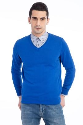 Erkek Giyim - KOYU MAVİ 3X Beden V Yaka Regular Fit Triko Kazak