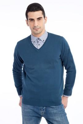 Erkek Giyim - Petrol M Beden V Yaka Regular Fit Triko Kazak