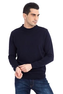 Erkek Giyim - Lacivert L Beden Bato Yaka Slim Fit Triko Kazak