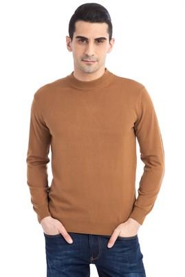 Erkek Giyim - Açık Kahve - Camel XL Beden Bato Yaka Regular Fit Triko Kazak