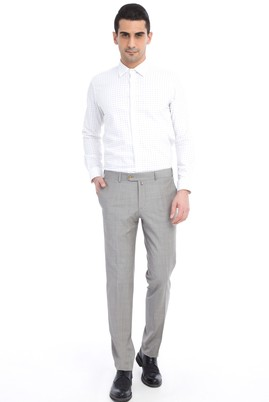 Erkek Giyim - Açık Gri 48 Beden Slim Fit Ekose Klasik Pantolon