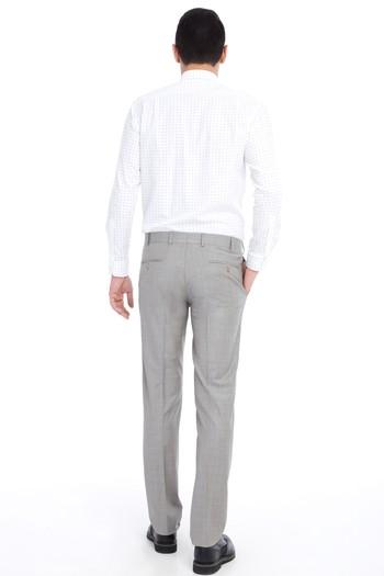 Erkek Giyim - Slim Fit Ekose Klasik Pantolon