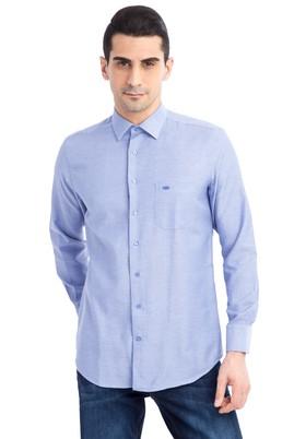 Erkek Giyim - Lacivert M Beden Uzun Kol Regular Fit Ekose Gömlek