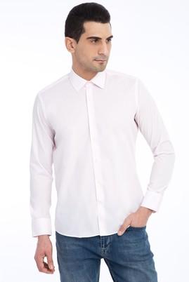 Erkek Giyim - Pembe L Beden Uzun Kol Slim Fit Gömlek