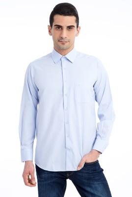 Erkek Giyim - Açık Mavi M Beden Uzun Kol Klasik Desenli Gömlek