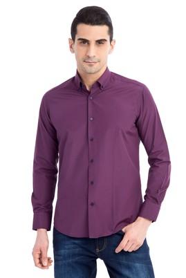 Erkek Giyim - Kırmızı L Beden Uzun Kol Kareli Slim Fit Gömlek