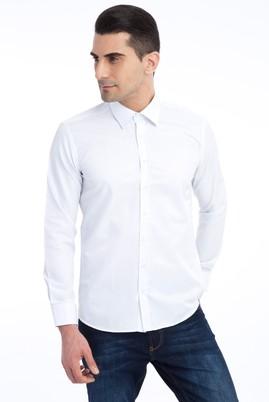 Erkek Giyim - Açık Mavi L Beden Uzun Kol Slim Fit Desenli Gömlek