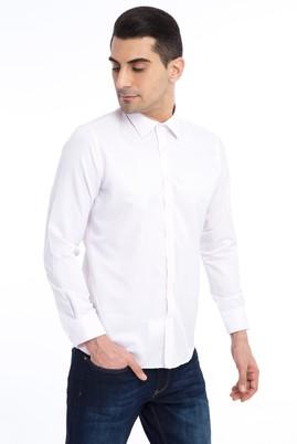 Erkek Giyim - Kırmızı M Beden Uzun Kol Slim Fit Desenli Gömlek
