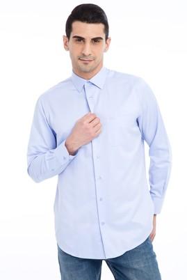 Erkek Giyim - Mavi XL Beden Uzun Kol Klasik Desenli Gömlek