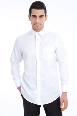 Erkek Giyim - Beyaz 3X Beden Uzun Kol Klasik Desenli Gömlek