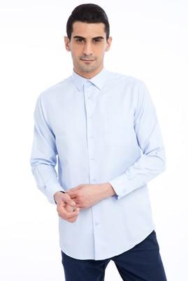 Erkek Giyim - Açık Mavi 4X Beden Uzun Kol Klasik Desenli Gömlek