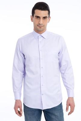 Erkek Giyim - Lila 3X Beden Uzun Kol Klasik Desenli Gömlek