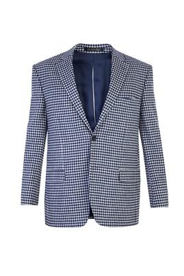 Erkek Giyim - Lacivert 50 Beden Ekose Ceket