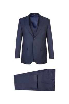 Erkek Giyim - Lacivert 56 Beden Yelekli Kuşgözü Takım Elbise