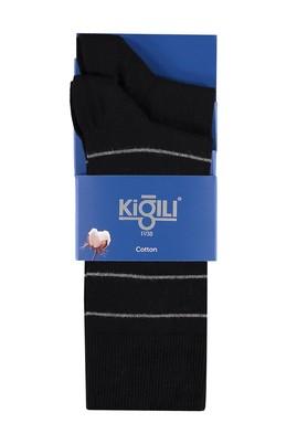 Erkek Giyim - Siyah 39 Beden 2'li Çizgili Çorap