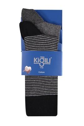 Erkek Giyim - Antrasit 39 Beden 2'li Çizgili Çorap