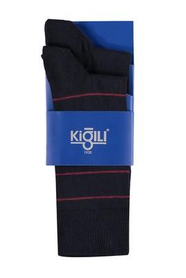 Erkek Giyim - Lacivert 42 Beden 2'li Çizgili Çorap