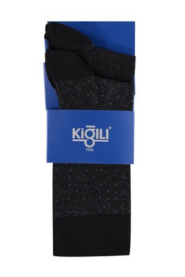 Erkek Giyim - Siyah 39 Beden 2'li Desenli Çorap