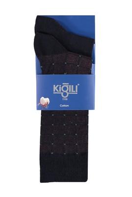 Erkek Giyim - Lacivert 39 Beden 2'li Desenli Çorap